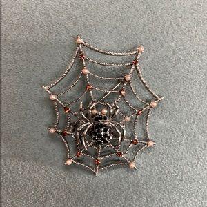 Silver rhinestone spider spiderweb brooch pendant